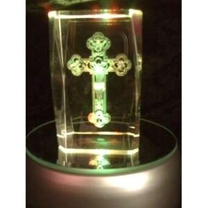 Laser Etched Crystal Cube Jesus on the Cross