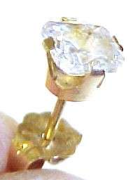 ONE .50ct Cubic Zirconia / 14KT Solid Gold Stud Earring