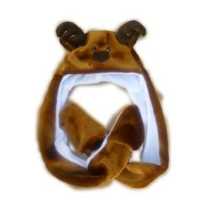 com Reindeer animal hat Deer long with mittens plush Brand New Animal