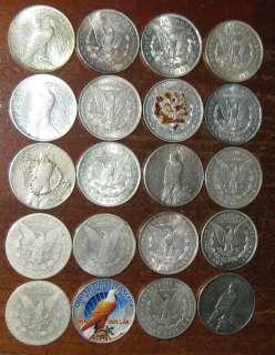 USA Full Roll 20 Morgan Peace Silver Dollar Coin Collection Scarce