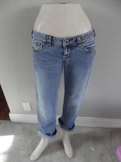Womens Silver Jeans Cropped Distressed Santorini 28 Capri