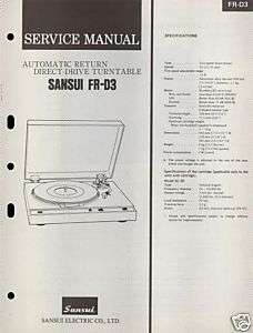 SANSUI FR D3 TWO SPEED TURNTABLE SERVICE MANUAL