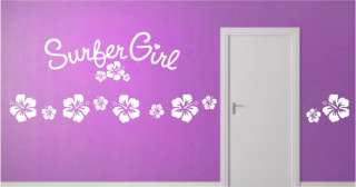 Surfer Girl & Hibiscus Flowers Vinyl Wall Art Decals