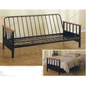 NEW Black Metal/Wood Futon Frame Bed/Couch/Sofa Home & Kitchen
