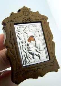 Virgin Mary Vladimir Christ Jesus Madonna & Child Russian Framed Wood