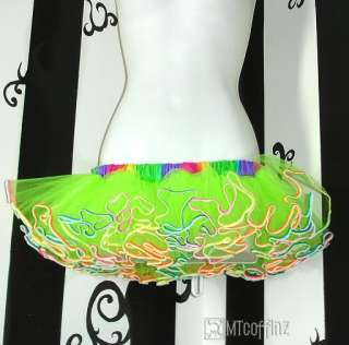 Green NEON Mini Rainbow Ballet Dance Adult TuTu Skirt