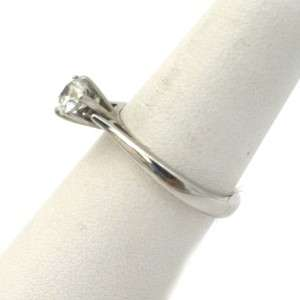14k White Gold and Round Diamond Solitaire Ring