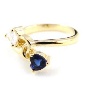 Gold plated ring, sapphire scarlett love.   Taille 50