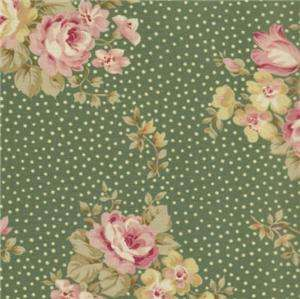 Robyn Pandolph Bowood House Green Floral Shabby Rose Dot Fabric