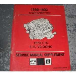 com 1991 1992 Corvette Service Manual Supplement LT5 5.7L gm Books