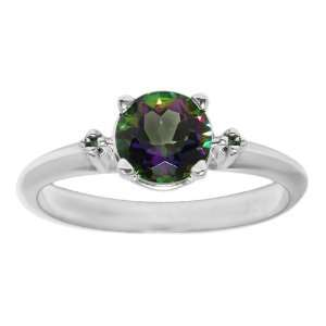0.76 Ct 6.00 mm Oval Cut Mystic Topaz Green Gold Ring