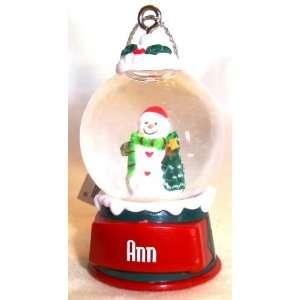 Ann Christmas Snowman Snow Globe Name Ornament Everything
