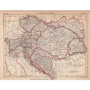 1884 Antique Map of Austria & Hungary from Encyclopedia