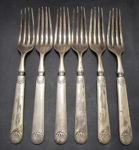 WM Rogers A Silver Plated Dinner Forks x6 antique silverware