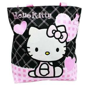 Hello Kitty Black Tote Bag   Pink Hearts Toys & Games
