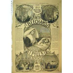 1886 Advert Beechams Pills Medicine Nun Girl Sick Bed