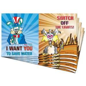 Foil Conservation Kid Sticker Savers  Save Water Turn off
