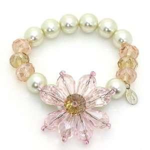 Pearl & Crystal Flower Stretch Bracelet; Cream pearl beaded bracelet