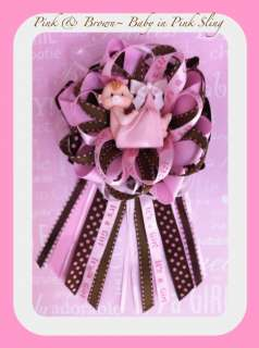 Cute Decorations~Baby Shower Corsage~Its a Girl~Favors~PINK & BROWN