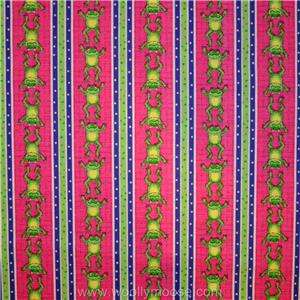 HALF YARD Ribbit LARGE Green Frogs on PINK w/ LILLY PADS Quilt Fabric