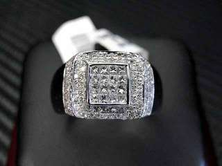 MENS DIAMOND RING 14K WHITE GOLD ROUND CUT PRINCESS CUT INVISIBLE PAVE