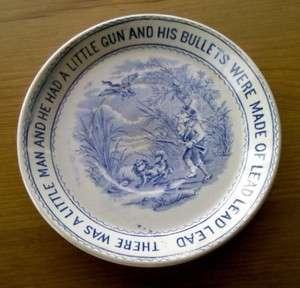 1880s Ceramic Nursery Rhymes by W. & Co.Hanley Plate of Duck Hunter