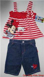 MINNIE MOUSE Toddler Girls 2T 3T 4T Set OUTFIT Shirt Top Pants Capris