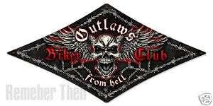 OUTLAWS BIKER CLUB Badass diamond shaped metal sign