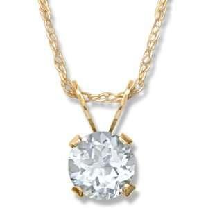 Ladies .56CT White Topaz Pendant Gold and Diamond Source Jewelry