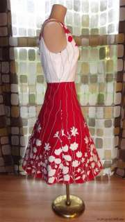 RETRO 50s STYLE Bold Red & White Floral Full Dress ROCKABILLY Swing