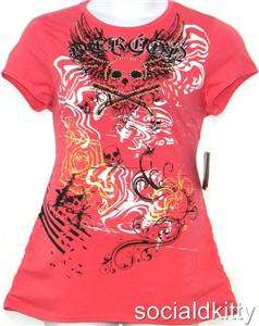 ~sexy~DEREON~beyonce~SKULL~tattoo~ANGEL WING~punk~PINK~TOP~shirt ~NEW