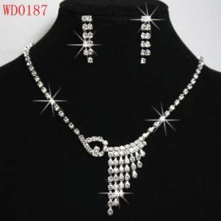 Lot 6 Sets Crystal wedding/Bridal Necklace & Earrings