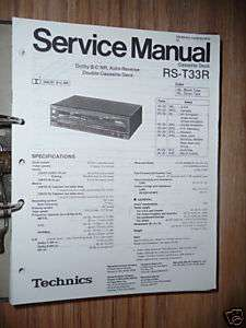 Service Manual Technics RS T33R Cassette Deck,ORIGINAL