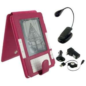 Leather Flip Case with Retractable USB Cable Charge Kit and Book Light