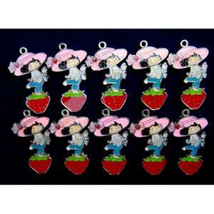 10 X Strawberry Shortcake Metal Figure Pendant Charms FREE SHIP