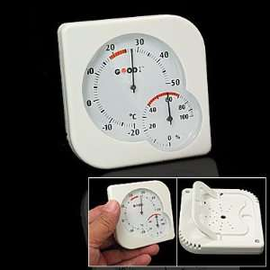 Wall Mount Indoor Outdoor Thermometer Hygrometer White