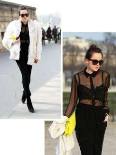 Enchanting Lady Retro Shirt Blouse Transparent Preppy Style Vogue