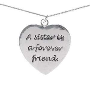 Sister is a Forever Friend Heart Pendant on 18in Necklace Symbols in