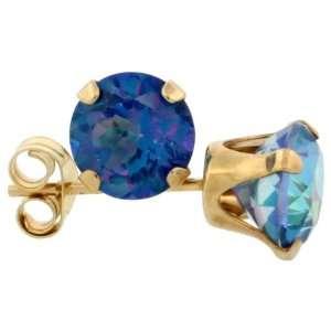 Gold 6mm Round Brilliant Cut Blue Mystic Topaz Stud Earrings Jewelry