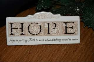 Stoneware HOPE Inspirational Sign Plaque Ornament