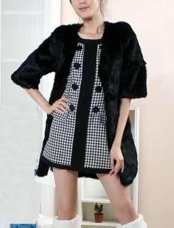 womens black real genuine rabbit fur long warm coat jacket all size