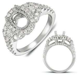 14k 1.00 Dwt Diamond White Gold Pave Engagement Ring