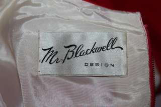 MR. BLACKWELL Vtg 1960s Red 1st LADY DRESS+Jacket Sz S
