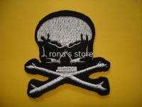 SKULL CROSSBONES Iron On Patch Sew Biker Punk Rock
