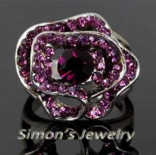 VTG Style Flower Ring Swarovski Crystal JA151