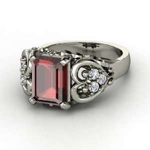 Emerald Heart Ring, Emerald Cut Red Garnet Sterling Silver Ring