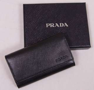 PRADA WALLET $265 BLACK LOGO SAFFIANO LEATHER SNAP BUTTON KEY CASE