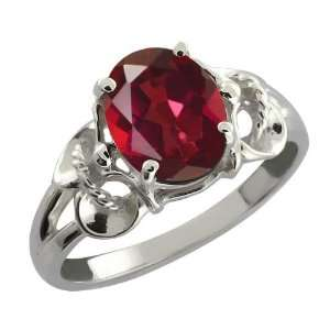2.30 Ct Oval Ruby Red Mystic Quartz Argentium Silver Ring