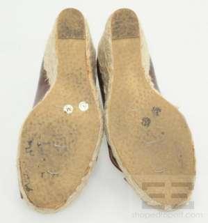 Michael Kors Brown Leather Peep Toe Espadrille Wedges Size 7M
