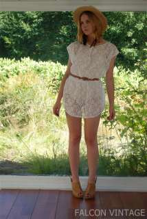 SHEER FLORAL White LACE Tunic Mini Dress Top Small Medium S/M